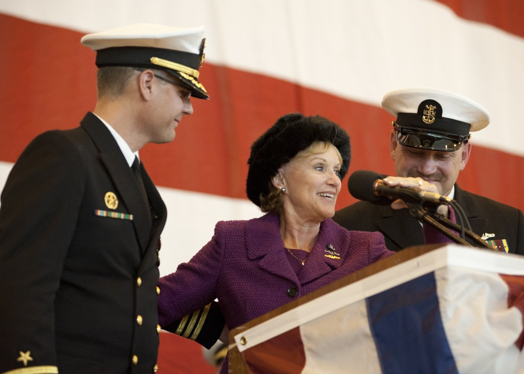 Cmdr. Dana Nelson, commanding officer of the Virginia-class attack submarine USS California (SSN 781), Mrs. Donna Joy Willard, ship's sponsor, and Master Chief Kevin Bond, chief of the boat, prepare to bring the ship to life during the commissioning ceremony for the Virginia-class attack submarine USS California (SSN 781) at Naval Station Norfolk. U.S. Navy photo 111029-N-NY820-147.