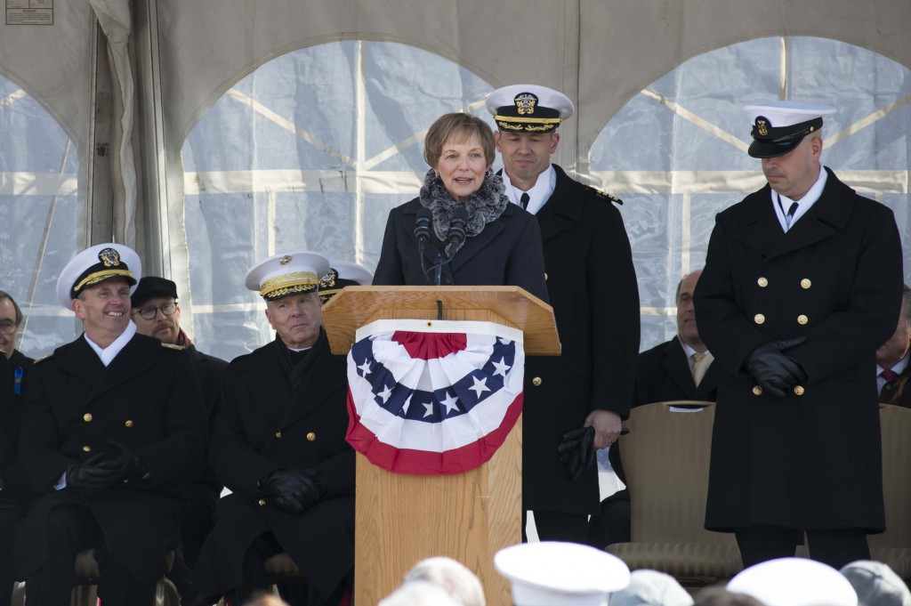 USS Somerset ship's sponsor Mary Jo Myers thanks the crew, shipbuilders and families of love ones lost on United Airlines Flight 93 for their support throughout the construction of the amphibious transport dock before she gives the order to man the ship and bring her to life. The Somerset's namesake recognizes the heroic actions of the 40 passengers and crew of United Airlines Flight 93 on Sept. 11, 2001 who sacrificed their lives to thwart a terrorist attack bringing down their would be hijackers and plane in a field in Somerset County, Pa. saving countless innocent lives in the process. (U.S. Navy photo 140301-N-WL435-478)