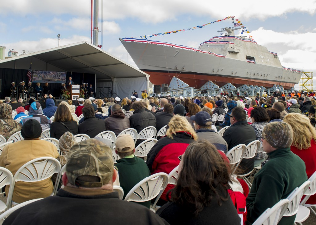 Secretary of the Navy (SECNAV) Ray Mabus delivers remarks during the christening ceremony for the littoral combat ship Pre-Commissioning Unit (PCU)  Detroit (LCS 7) at Marinette Marine Corp. shipyard in Marinette, Wis. (U.S. Navy photo by Chief Mass Communication Specialist Sam Shavers/Released)