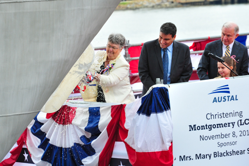 Austal USA and the US Navy celebrated the christening of the future USS Montgomery (LCS 8) this morning as ship sponsor, Mary Blackshear Sessions, broke the ceremonial champagne bottle on the bow of the ship in Austal's shipyard in Mobile, Alabama.