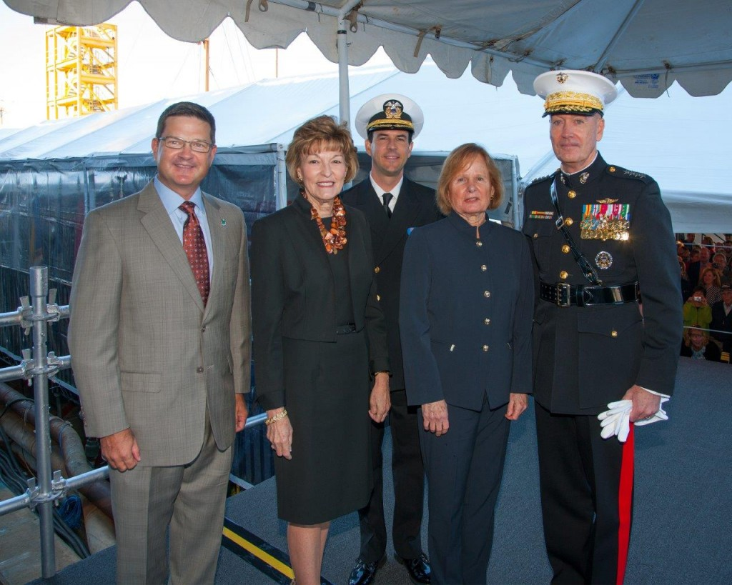 NASSCO Vice President and General Manager Kevin Graney joins MLP 3 AFSB Ship's Sponsor Martha Puller Downs, Ship's Matron of Honor Janice Brinkley, Principal Speaker General Joseph F. Dunford Jr. and Ship's Master Captain Jonathan Olmsted on the Striker's Platform. (General Dynamics)