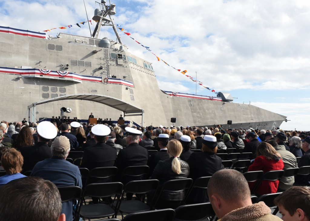151205-N-AC887-003  GULFPORT, Miss. (Dec 5 , 2015) Secretary of the Navy (SECNAV) Ray Mabus delivers remarks during the christening ceremony for the Navy's newest Independence-variant littoral combat ship, USSJackson(LCS6), in Gulfport, Miss. (U.S. Navy photo by Chief Mass Communication Specialist Sam Shavers/Released)