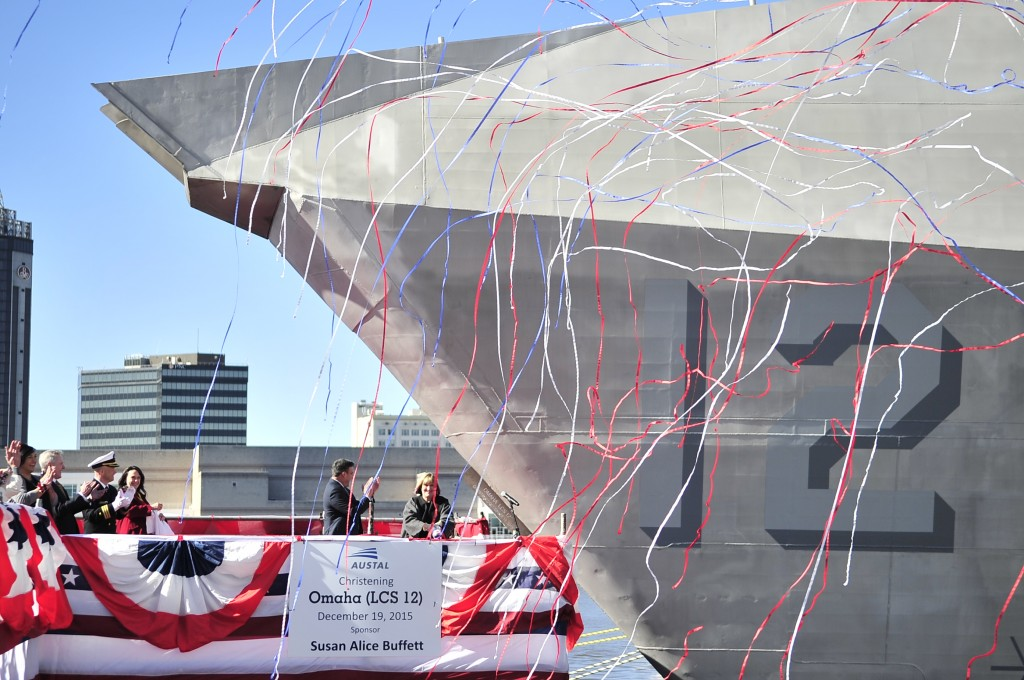 MOBILE, Ala. (Dec. 19, 2015) Susan A. Buffett, ship's sponsor for the littoral combat ship Pre-Commissioning Unit, Omaha (LCS 12), breaks a bottle across the ship's bow during a christening ceremony at Austal USA shipyard in Mobile, Ala. (U.S. Navy photo by Mass Communication Specialist 1st Class Michael C. Barton/Released)151219-N-OR477-130  Join the conversation: http://www.navy.mil/viewGallery.asp http://www.facebook.com/USNavy http://www.twitter.com/USNavy http://navylive.dodlive.mil http://pinterest.com https://plus.google.com