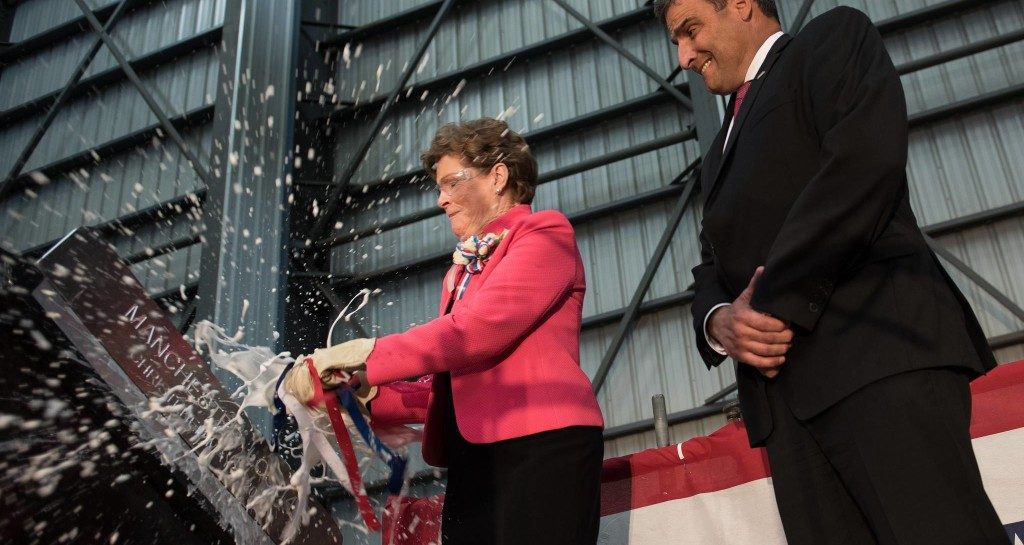 U.S. Senator Jeanne Shaheen christens the USS Manchester (LCS 14) at Austal's Mobile, AL facility. (Photo Credit: Austal)